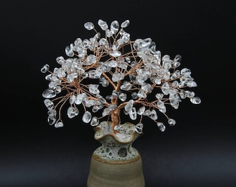 Natural Rock Crystal Wire Tree Clear Quartz Gemstone Sculpture  Life of Tree Lucky Tree Feng Shui Decor Tree Crystal Bonsai April Birthstone