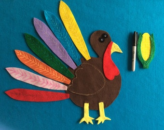 Felt stories Turkey wore red feather//2 felt stories turkey song//felt story Thanksgiving//preschool//felt  stories colors//Educational gift