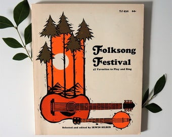 vintage folksong festival song book - 60s folk song book - vintage folk music - guitar player gift - musician gifts - gifts for musicians