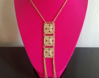 Unique and Antique! Fabulous 1960s/1970s Fashion Gold Tone Pendant/Chain Tassel Longline Necklace - Intricate Filigree Design - Very Pretty