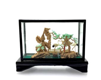 Vintage Chinese Colored Cork 3D Sculpture Diorama or Carving Landscape, Carved Cranes Bridge Pagoda Temple, Black Lacqured frame in Glass