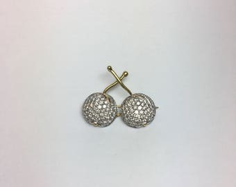 18K Yellow + White Gold Pavé Diamond Twin Cherry Pin by F. Staal & Co.