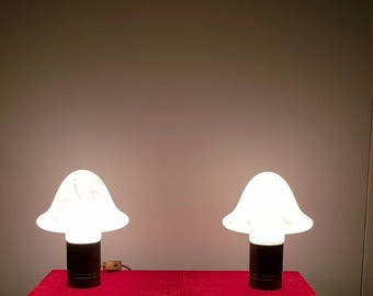 Pair of Murano mushroom-pair of table lamps-trapped glass-pop art-70 's