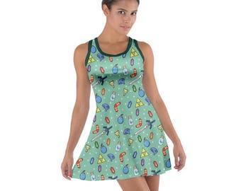 Zelda Items Dress - Video Game Dress Cosplay Dress Comicon Dress Videogame Dress 8-bit Dress pixel dress