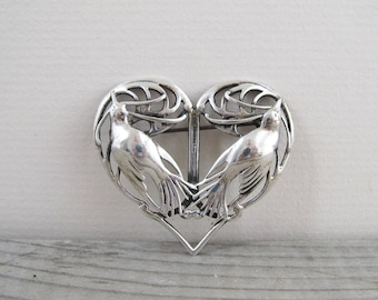 Art nouveau revival lovebird brooch, Heart shaped sweetheart brooch, Sterling silver pin, mid century jewelry