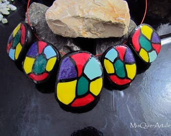 Colorful necklace | Statement necklace yellow red green violet turquoise