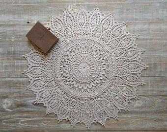Textured doily Textured doily 3d Round beige doily Victorian doily 24 inch doily Doily boutique Luxury doily Fancy antique doily Lace doily