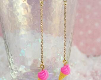 Sweet Fairy Kei Hot Pink Ice Cream Cone Dangling Earrings