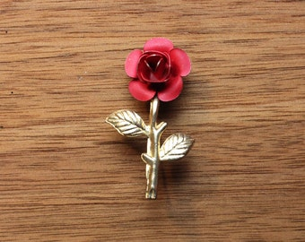 Vintage Small Gold and Red Toned Rose Brooch Pin