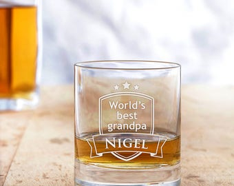 Engraved Whisky Glass - World's Best Grandpa - Customised with Name - Gift for Grandfathers - Christmas Gift - Gift for Whisky Lovers