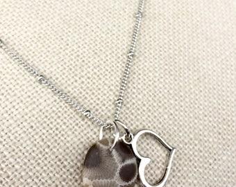 Petoskey Stone Necklace with Heart Charm on Silver Chain, Lake Michigan rock, Petoskey stone jewelry, fossilzed coral, petosky jewelry