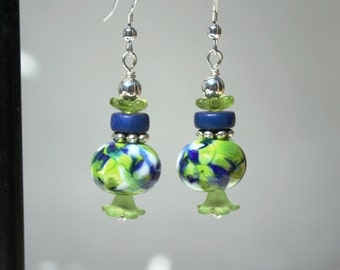 Handmade lampwork bead earrings in lime green and blue