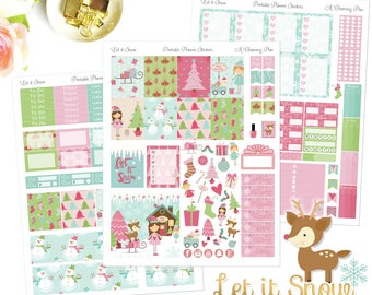Let it Snow - Printable Planner Stickers - Instant Download