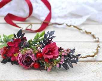 Red flower crown Wedding hair wreath Bridal headpiece Flower hair wreath Wedding flower crown Wedding headpiece Flower halo Rustic crown
