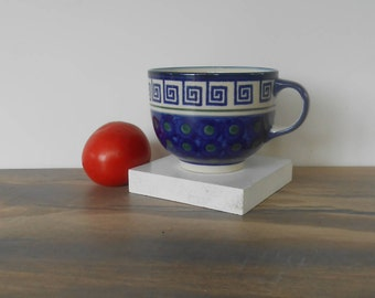 Vintage stoneware pottery Bowl -Boleslawiec Made in POLAND,Hand made and painted, Modern Kitchen Bowl