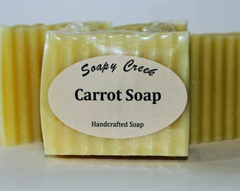 Carrot Soap, Baby Soap, Natural Soap, Handmade Soap, Cold Process Soap, Handcrafted Soap, Homemade Soap, Unscented Soap, Bar Soap