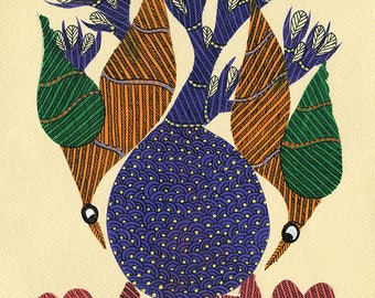 Red Fish, Gond Artwork, Original Acrylic.