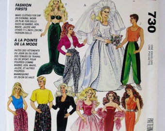 Vintage Barbie, Ken Clothes Sewing Pattern McCall's 730 / 5738, Uncut & Factory Folded, from 1992, 10 Outfits, Day, Evening + Hammer Pants!