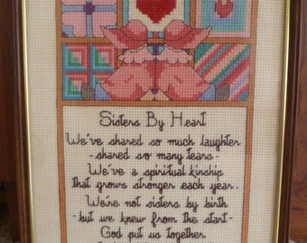 Valentine gift for best friend/Sisters by Heart Cross stitch/Valentine Gift/Best Friend Framed Poem complete/Best Friends Poem
