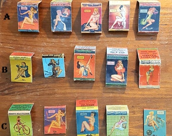 Vintage pin-up match book covers 1940's You choose 5 matchbook set
