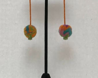 Wool Felt, Chrysoprase, Japanese Seed Beads and Gold Earrings