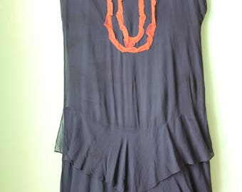 20s Navy & Orange Flapper Dress - AS IS