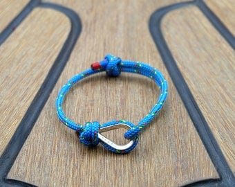 Handmade Customized Nautical Sailing Bracelet 925 Silver bright blue color | Personalized Men present | Adjustable size, Unisex