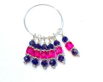 6PC. Navy Sparkle and Pink  AB Austrian Crystal Bead Dangle Charm// AB Crystal Dangle Charms//Adorned with  Silver Tone Plated Accents