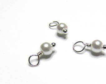 10PC. WHITE Pearlized Finished 4MM Glass Bead Charm// Hand Made High Quality Bead Charms Silver Tone plated finish