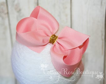 Pink Gold Headband, Baby Headbands, Infant Headband, Girls Headbands, Baby Girls Headbands, Pink Gold Hair Bow, Boutique Hair Bow, Bowband