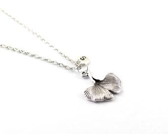 GINKGO charm necklace, Ginkgo leaf charm, personalized necklace, initial necklace, initial handstamped, personalized neckalce, initial jewel