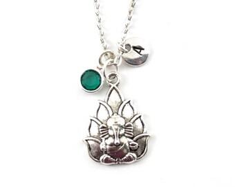 GANESH charm necklace, Ganesh jewelry, personalized necklace, initial necklace, birthstone jewelry, initial jewelry, personalized gift
