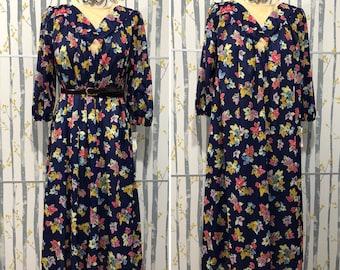 Vintage Floral Maxi Dress Size M/L