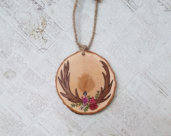 Deer antlers wood slice Christmas ornament