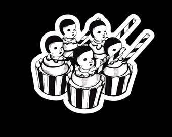 Original Handmade Stickers/Black & White Vinyl Stickers/Dolls Sticker/Cupcake Sticker/Cute Grunge Kawaii Vinyl Stickers