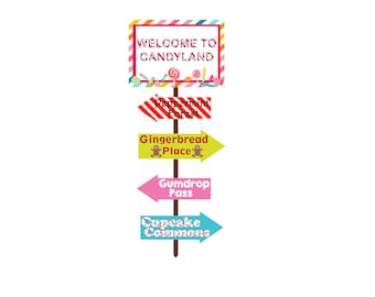 Candyland Party Signs, candyland welcome sign, candy sign, girls birthday sign, gumdrop, candy, candy party sign