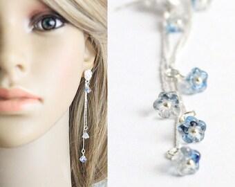 cute gift bridesmaid earrings blue stud earrings silver flower studs long earrings romantic wedding earrings wife gifts girlfriend L244