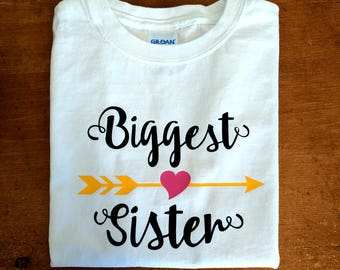 Biggest Sister Shirt - Personalized with Name - Matches Big Middle Little Sister Arrow Shirt Set