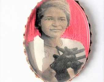 Rosa Parks hand embroidered brooch