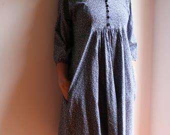 Boho dress, Boho floral dress, Vintage dress, Indigo blue dress, Vintage floral dress, Blue dyed dress, 70s blue dress, floral country dress