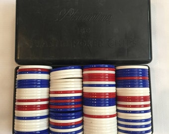 Vintage Pleasantime 100 Plastic Poker Chips Plastic Black Case and Chips Vintage Poker Chips