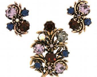 Rhinestone Brooch and Earrings Set Miracle 1980s Purple and Blue Rhinestone Floral Design