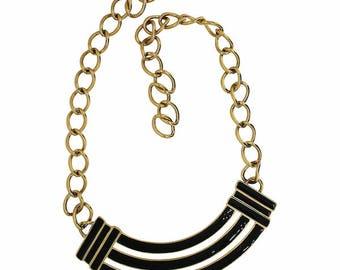 Monet 1980s Gold Plated and Black Enamel Vintage Statement Necklace