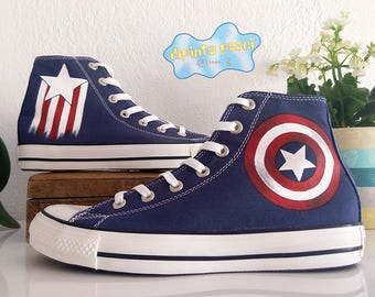 Captain America Hand Painted Custom Shoes