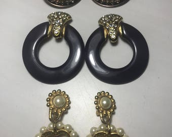 Set of Three Vintage Clip On Earrings