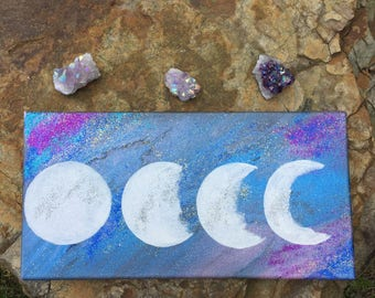 Moon Phases Acrylic Canvas Painting, Art, Home Decor, Painting, Acrylic, Canvas, Moon Art, Moon Phases
