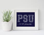 The Pennsylvania State University Penn State PSU |  Calligraphy Word Wall Art Wordy Print