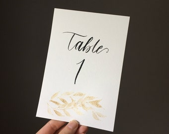 Table Numbers with Gold Watercolor - 5x7