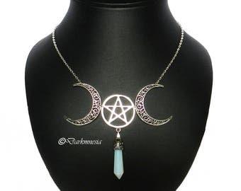 Necklace, triple moon, pentacle, pentagram, goddess, pendulum, opaline, esoteric, wicca, pagan, witch