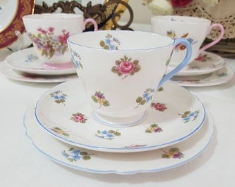 SHELLEY 'Rose Pansy Forget Me Not' Tea Cup Trio Set, Fine Bone China, England c1945-66